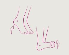 Slika koja pokazuje vježbu 1 za vene, prsti-peta