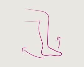 Ikonica vježbe okretanja stopala i noge za prevenciju tromboze